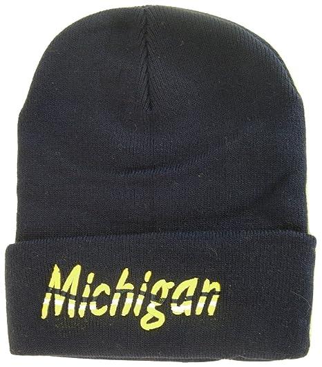 a523cf65f43 BVE Sports Novelties Michigan Adult Size Wavy Script Winter Knit Beanie Hat  (Navy)