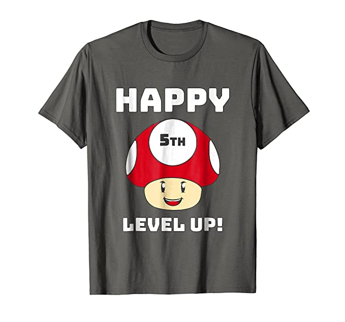 Mens Happy 5th Birthday Shirt Anniversary T 2XL Asphalt