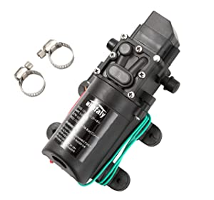 12V DC Fresh Water Pump With 2 Hose Clamp 12 Volt Diaphragm Pump Self Priming Sprayer Pump with Pressure Switch 4.5 L/Min 1.2 GPM 110 PSI Adjustable for RV Camper Marine Boat Lawn