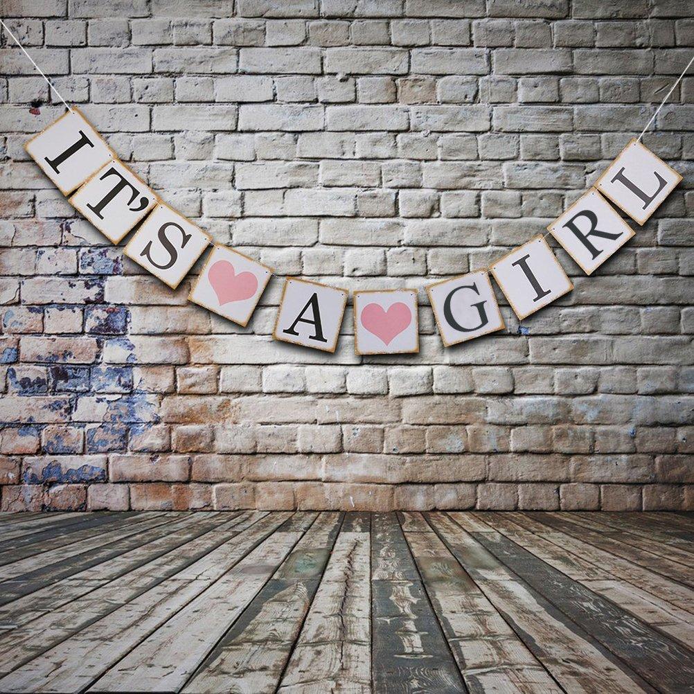 Amazon.com: Letrero con texto en inglés «IT is a Girl Banner ...