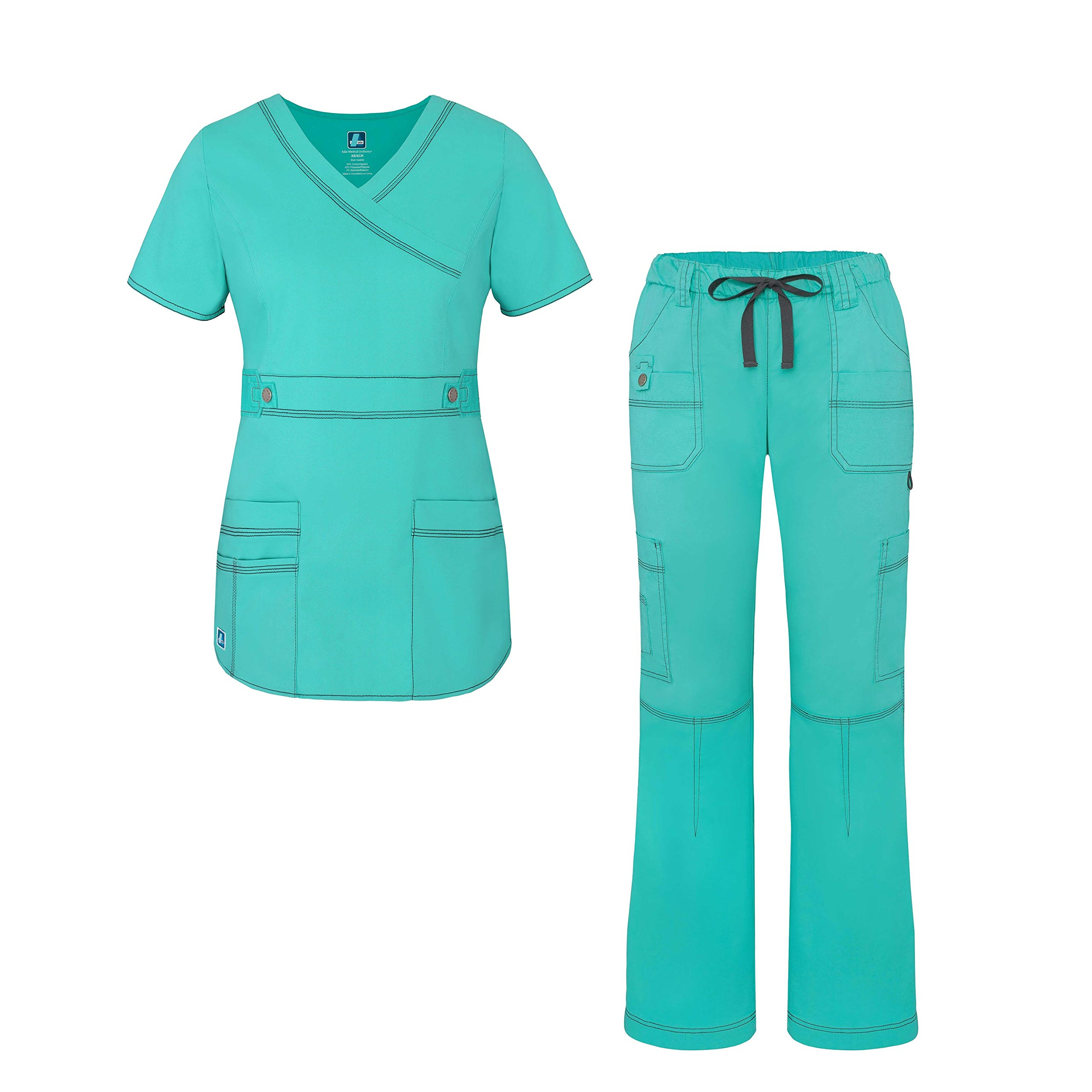 Adar Pop-Stretch Junior Fit Women's Scrub Set - Crossover Top and Multi Pocket Pants - 3500 - Sea Glass - L