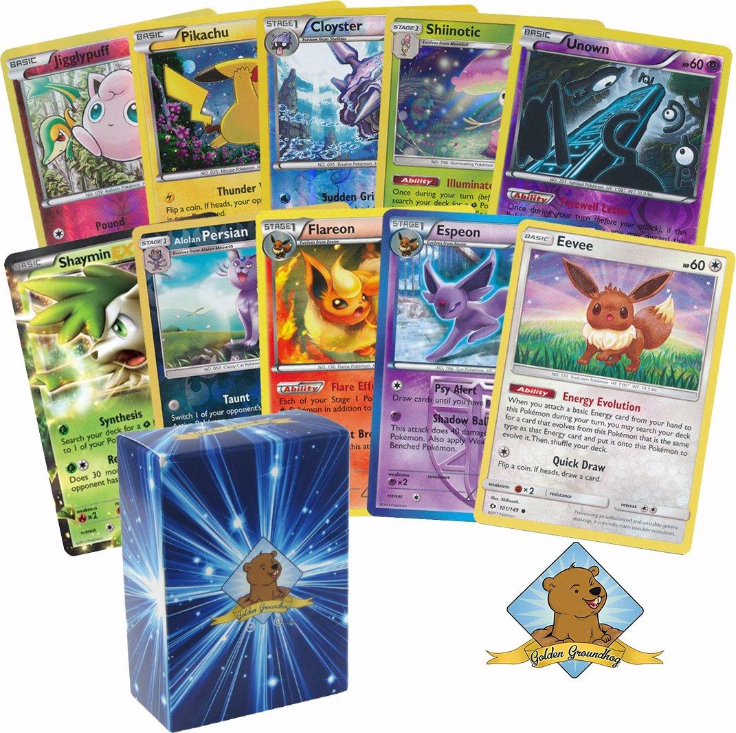 30 Pokemon Card Pack Lot Includes Eevee, 3 Random Eevee Evolutions, 7 Reverse Foils, 3 Holo Rares, 1 Random Ex or Full Art Ultra Rare. Plus Bonus 3 Golden Groundhog Token Counters.