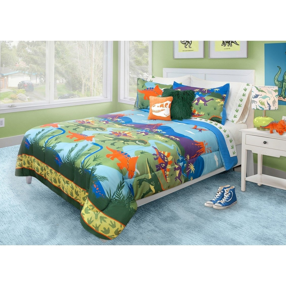 3 Piece Kids Multi Dinosaur Theme Comforter Full Queen Set, Beautiful Old Aged Animals, Volcano, Lava Mountains Print, Dino Paws Borders, Colorful Adventurer Print Bedding, Hypoallergenic, Polyester by ON
