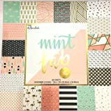 Mint To Be Fab, 12x12 Gold-Foiled, Embossed, Scrapbooking Paper Pad, 60 Sheets,Abstract, feathers, flamingos,pineapples, gold