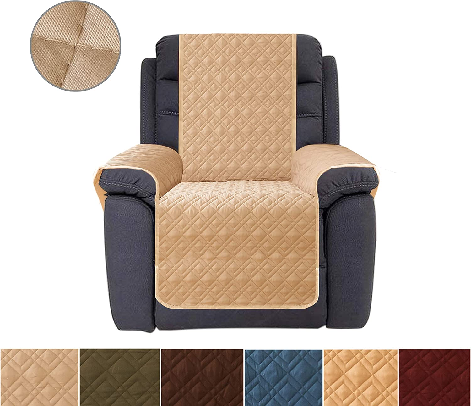 Sofa Cover, Reversible Quilted Furniture Protector, Ideal Loveseat Slipcovers for Pets & Children, Water Resistant, Will Keep your Couch Stain, Dirt & Scratches-Free   Double line checkered grid Khaki