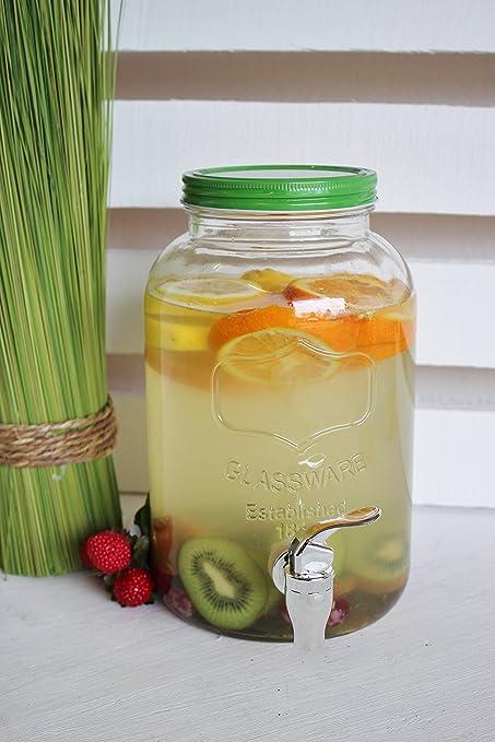 Dispensador de bebidas Verde Uni 3,5 L, cristal vintage dispensador de agua