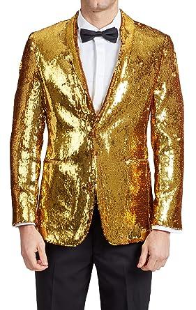 33f503d1c Dobell Mens Gold Sequin Tuxedo Jacket Slim Fit Peak Lapel at Amazon ...