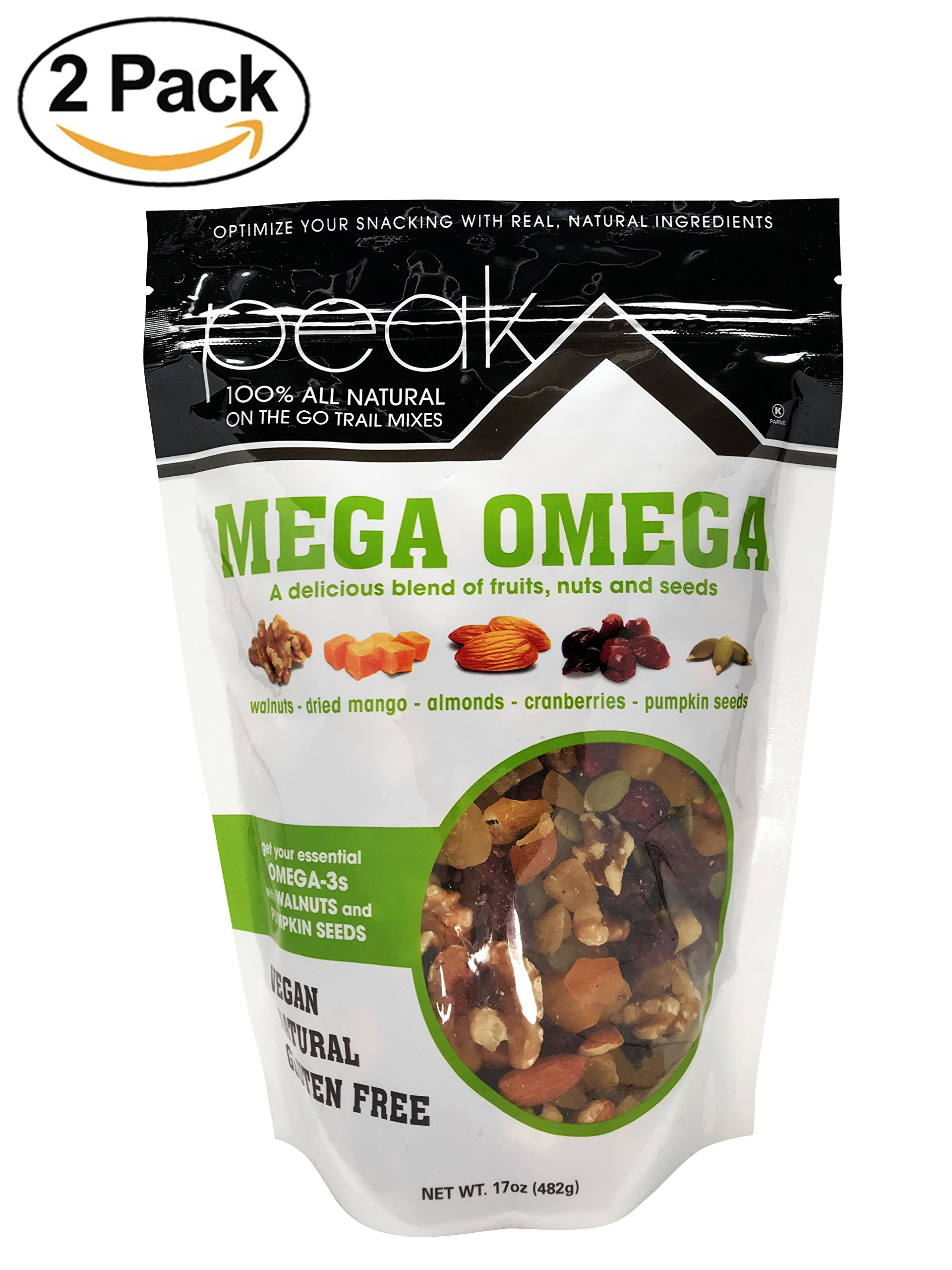 Peak Trail Mix -Mega Omega,100% All Natural Mix that are rich in Omega-3s (Walnut,Dried Mango,Almonds,Cranberries,Pumpkin Seeds) - Vegan, Gluten Free Snacks.