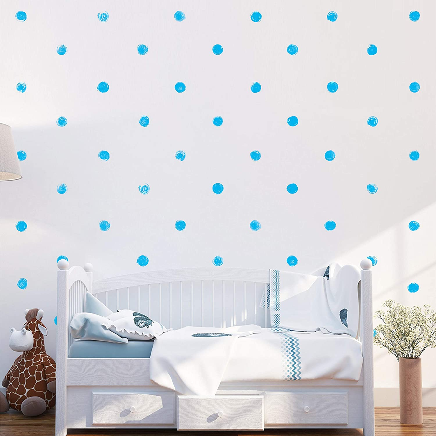 """Watercolor Blue Polka Dot Wall Decals 2.4""""  Wall Decal Dots  Bedroom Wall Decor  Round Circle Stickers For Walls Decoration  Kids Wall Decals  Wall Stickers & Murals  Gold Wall Decor  Vinyl Polka Dot Décor"""