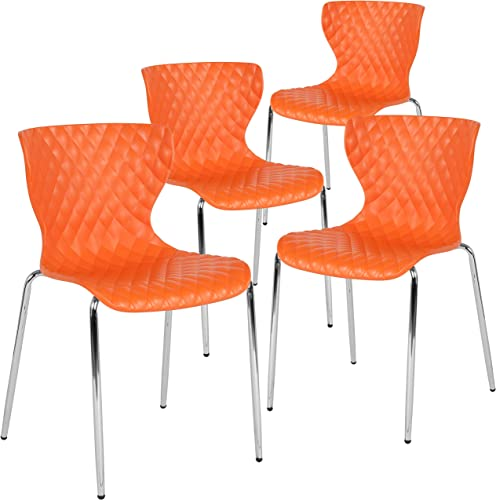 Flash Furniture 4 Pack Lowell Contemporary Design Orange Plastic Stack Chair