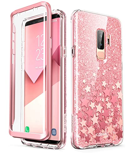 i-Blason Cosmo Full-Body Glitter Clear Bumper Case for Galaxy S9 Plus 2018 Release, Pink