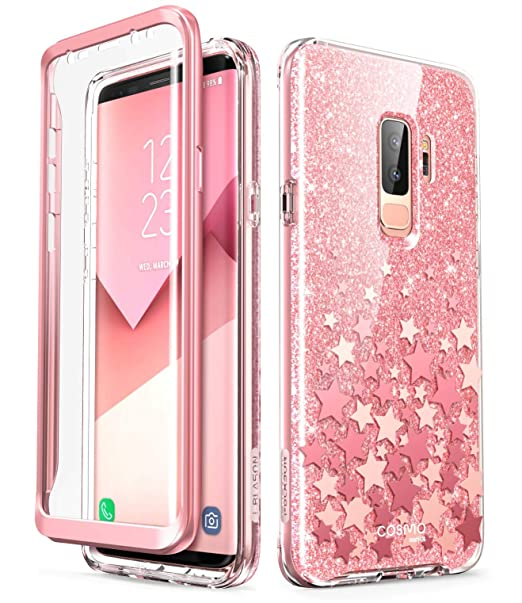 finest selection 928e2 7cfe8 i-Blason Cosmo Full-Body Glitter Clear Bumper Case for Galaxy S9 Plus 2018  Release, Pink