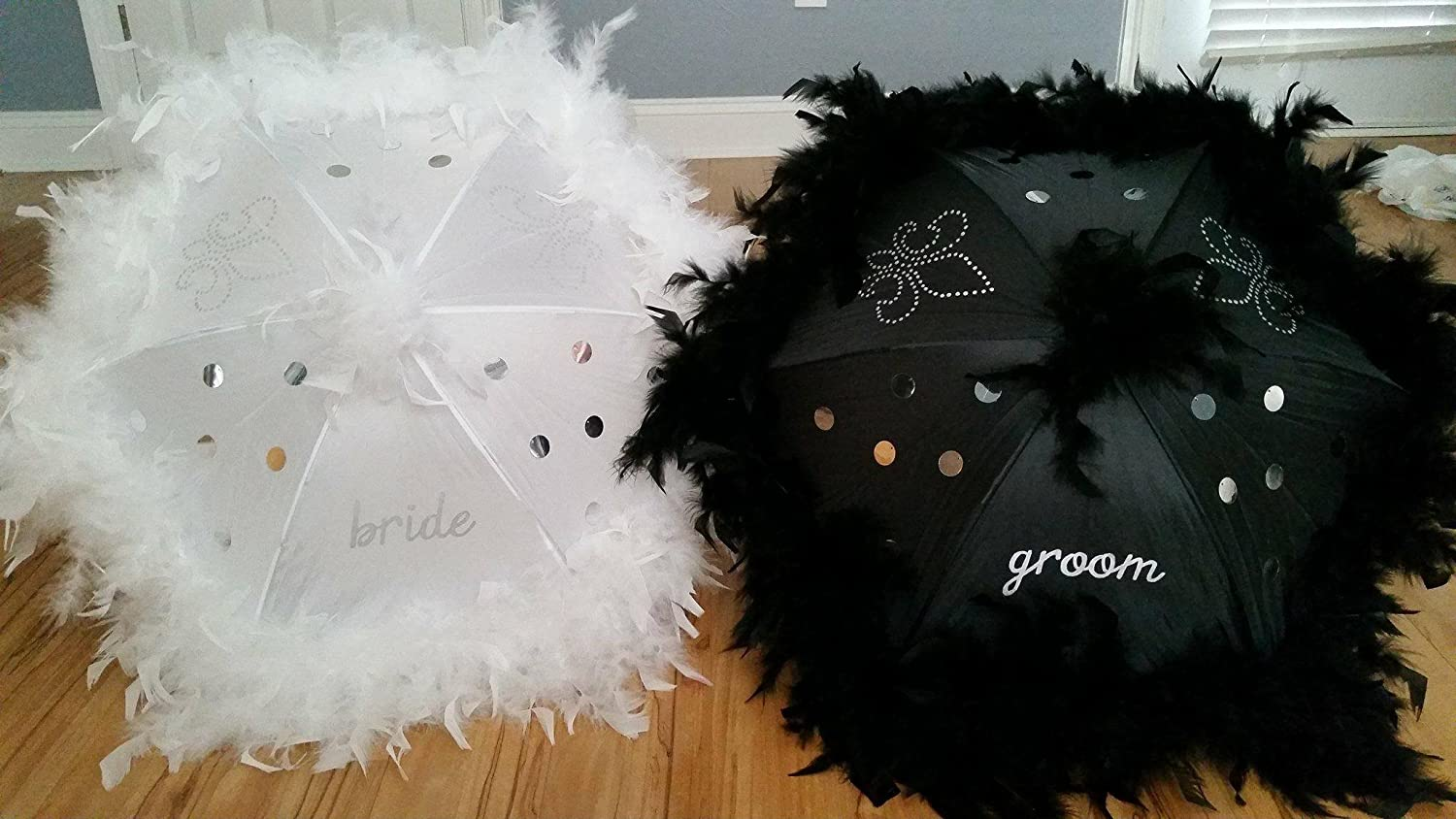 Wedding Second Line Umbrellas Handmade In New Orleans, Black and White or Cream, Medium or Large, Feather and Fringe Option