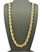 Hip Hop 80' Unisex Rapper's 8mm, 10mm Various Size Hollow Rope Chain Necklace in Gold, Silver Tone