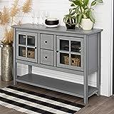 Walker Edison Rustic Farmhouse Wood Buffet Storage Cabinet Living Room, 52 Inch, Antique Grey