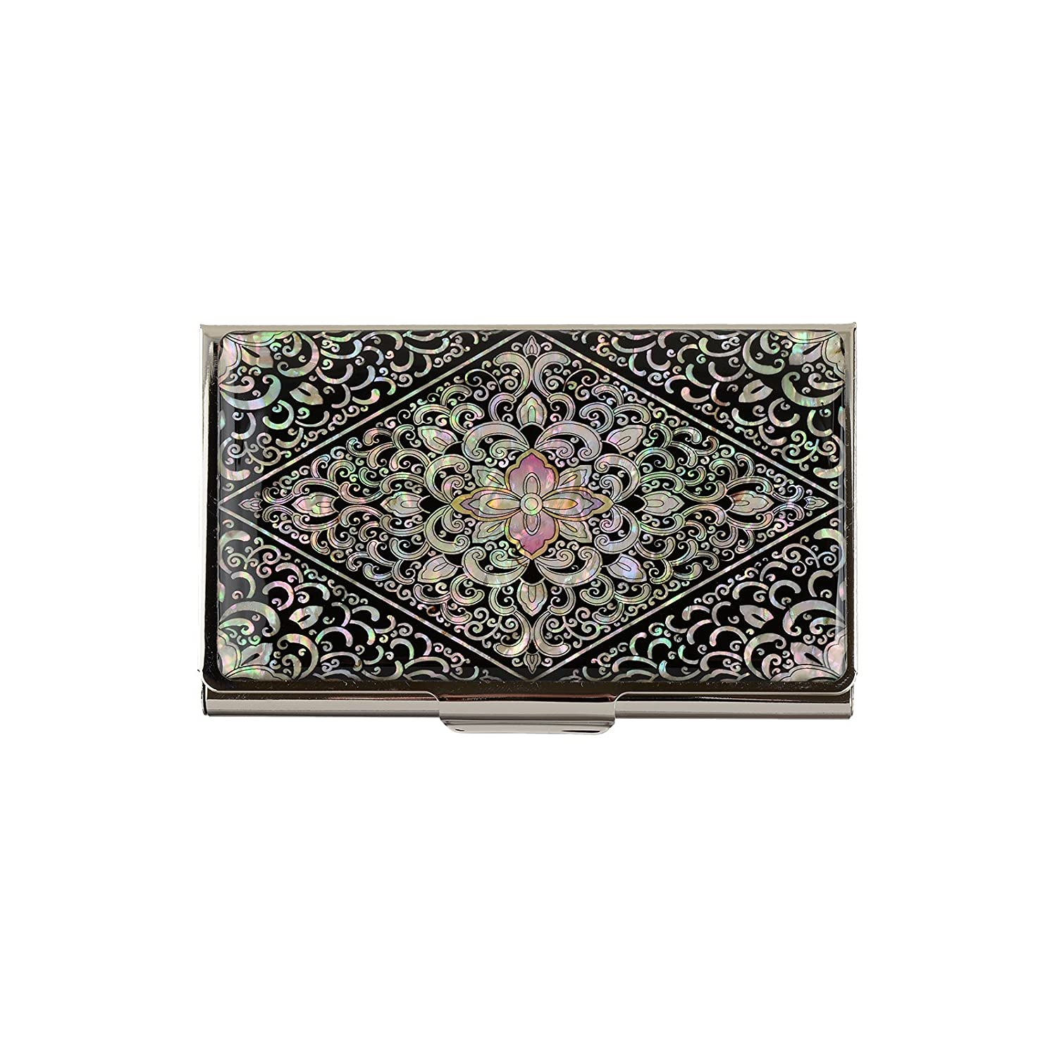 business name card holder stainless steel case Mother of Pearl Art Arabesque Yemun