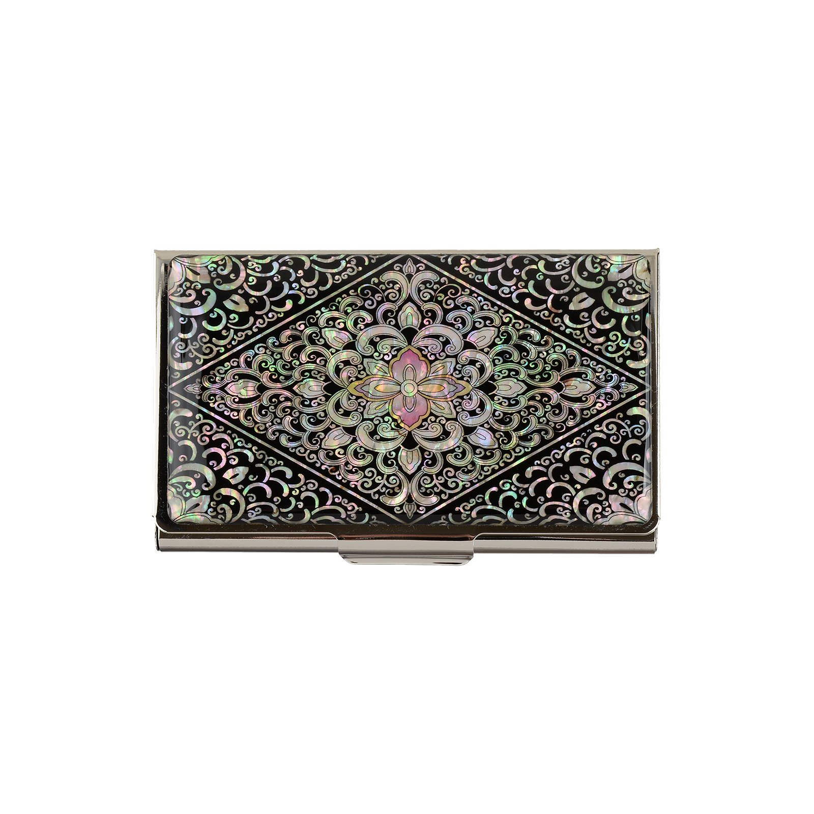 business name card holder stainless steel case Mother of Pearl Art Arabesque by MOP antique (Image #1)