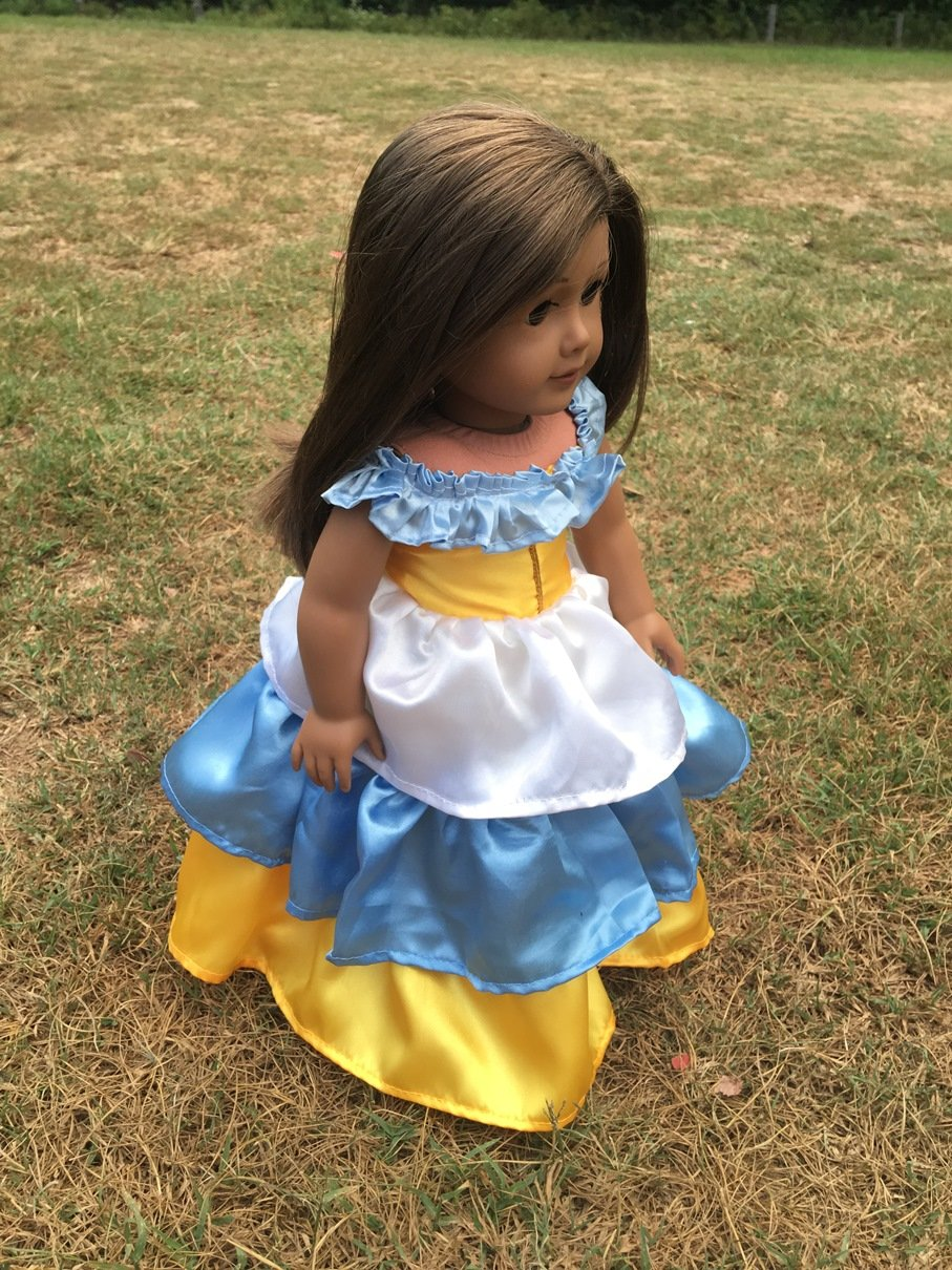 Fits American 18' Girl Doll Clothes Party Prom Fiesta Dress Off the Shoulder Top Ruffled Layered Skirt (Clothes Only)