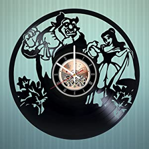 Beauty and The Beast Vinyl Record Wall Clock - Get Unique Home Room Wall Decor - Gift Ideas for Kids, Girls and Boys Fantasy Film Characters Unique Modern Art
