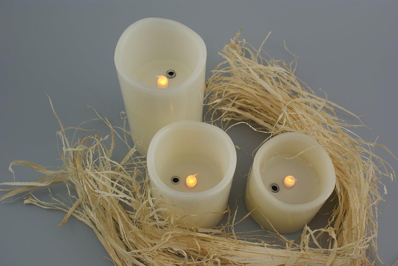 3tlg.Set candele LED ad AN e auspusten vera cera