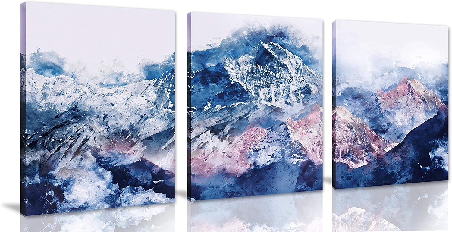 Abstract Wall Art for Living Room Beautiful Nature's Landscape Wall Decor for Bedroom Snow Mountain Landscape Modern Wall Decor 3 Piece Canvas Wall Art Framed Ready to Hang Size 12x16 Each Panel
