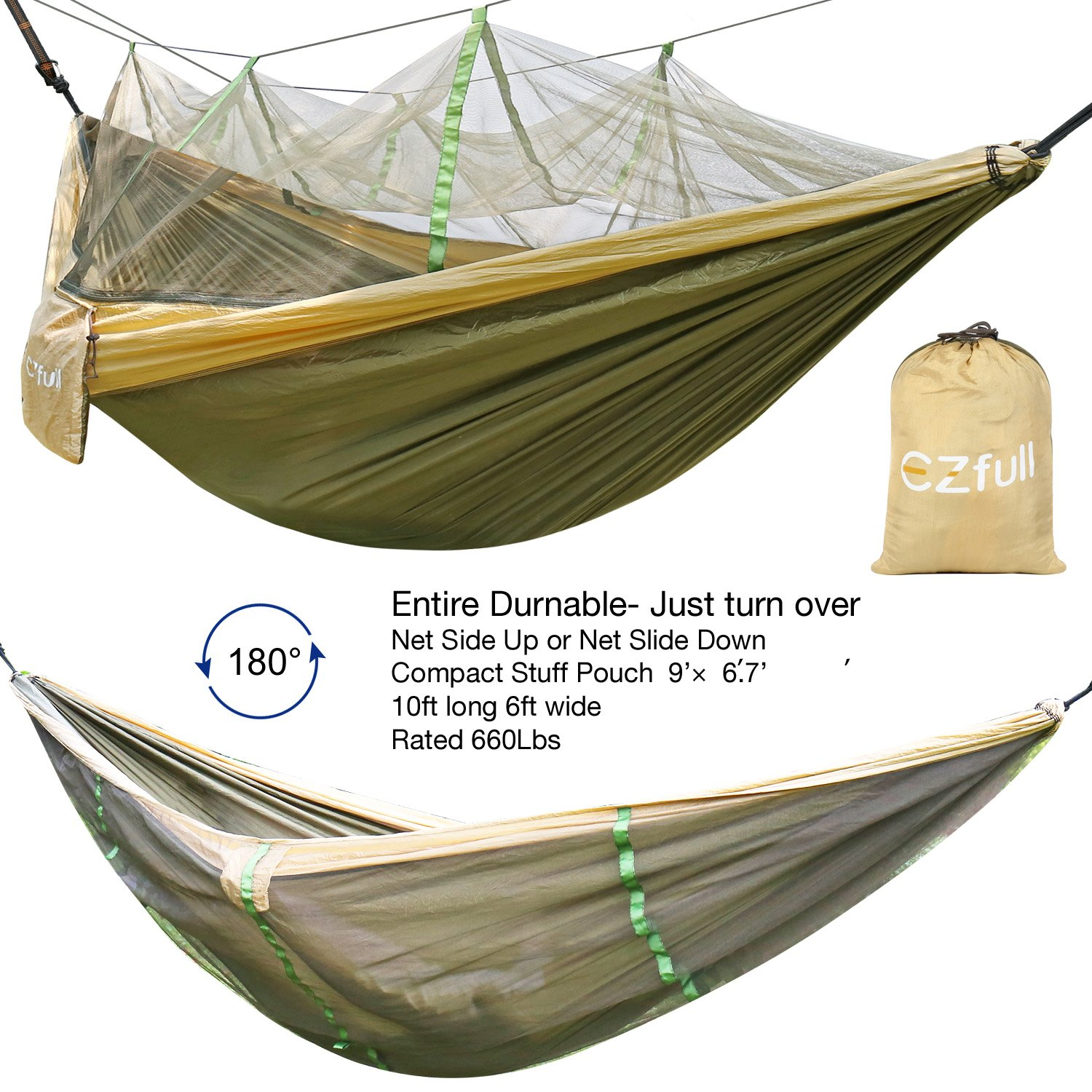EZfull Double Camping Hammock with Mosquito Net 660LBS Bearing Portable Outdoor Hammocks,10ft Hammock Tree Straps 12KN Carabiners for Backpacking Camping Travel Beach Yard. 118 L x 78 W