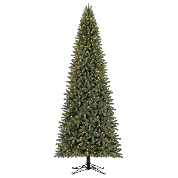 led pre lit artificial fir 12 slim christmas tree one plug lights entire - Christmas Tree Slim