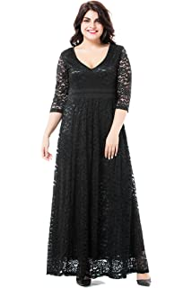 6db59313e49 ESPRLIA Women s Plus Size Double V Neck 3 4 Sleeve Dress High Waist Maxi  Wedding