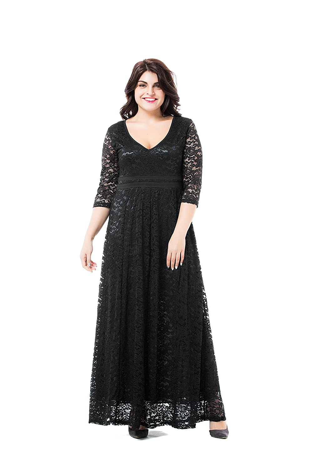 Victorian Plus Size Dresses | Edwardian Clothing, Costumes ESPRLIA Womens Plus Size Double V Neck 3/4 Sleeve Dress High Waist Maxi Wedding Dress $29.99 AT vintagedancer.com