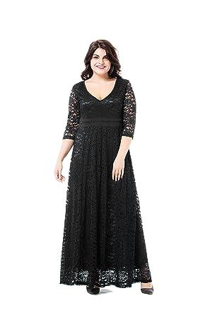 31f716edc60 ESPRLIA Women s Plus Size Double V Neck 3 4 Sleeve Dress High Waist Maxi  Wedding