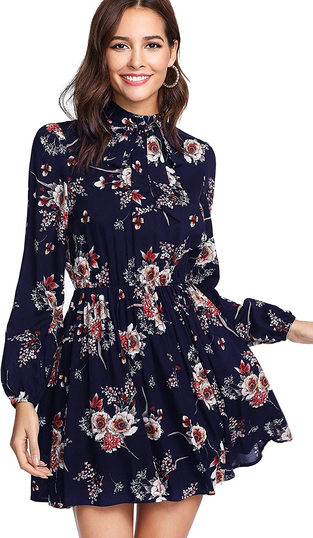 Floerns Women's Tie Neck Flower Print Long Sleeve Short Dress
