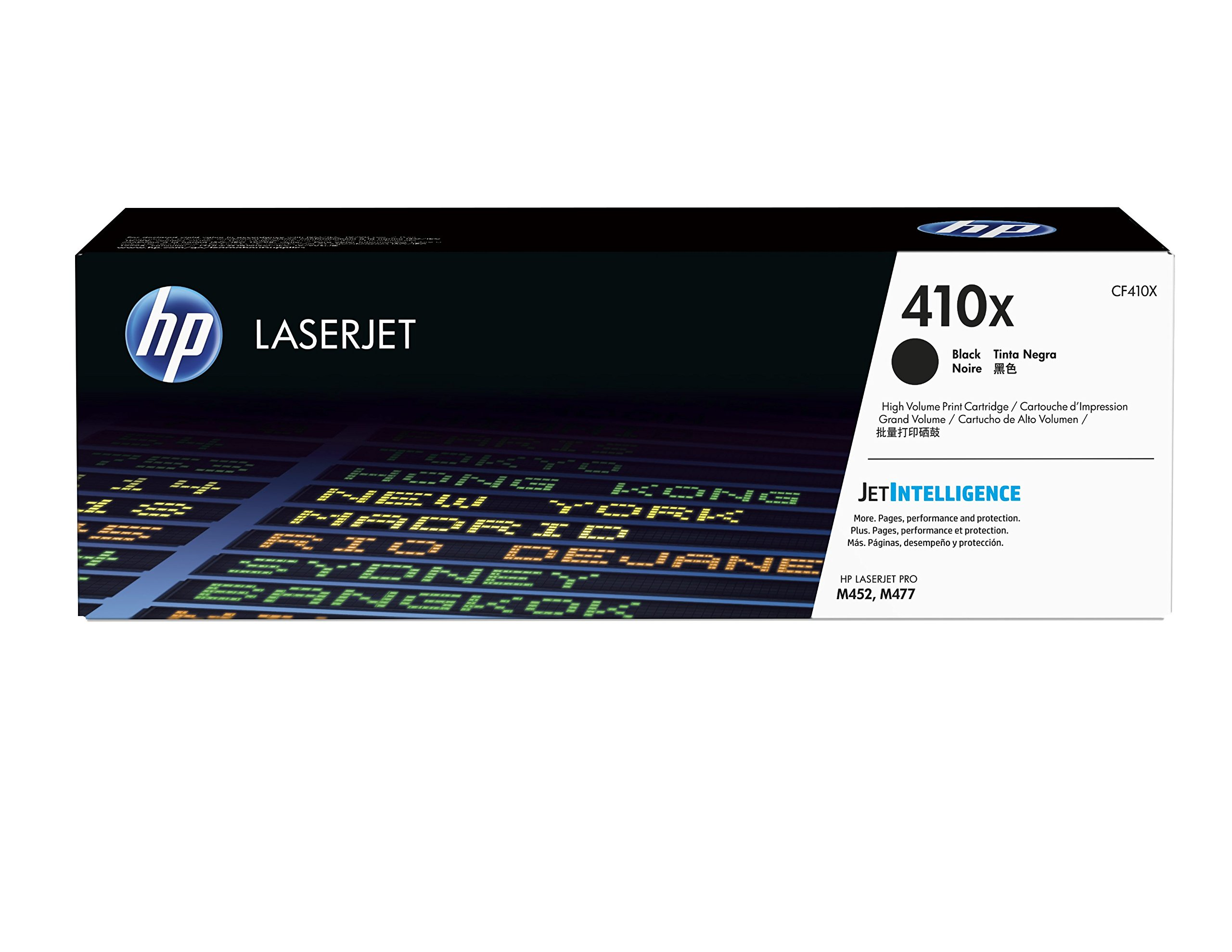 HP 410X (CF410X) Toner Cartridge, Black High Yield for HP Color LaserJet Pro M452dn, M452dw, M452nw, MFP M377dw, MFP M477fdn, MFP M477fdw, MFP M477fnw