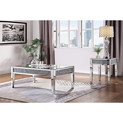 Amazon Com Acme Furniture Noralie Coffee Table Mirror Faux