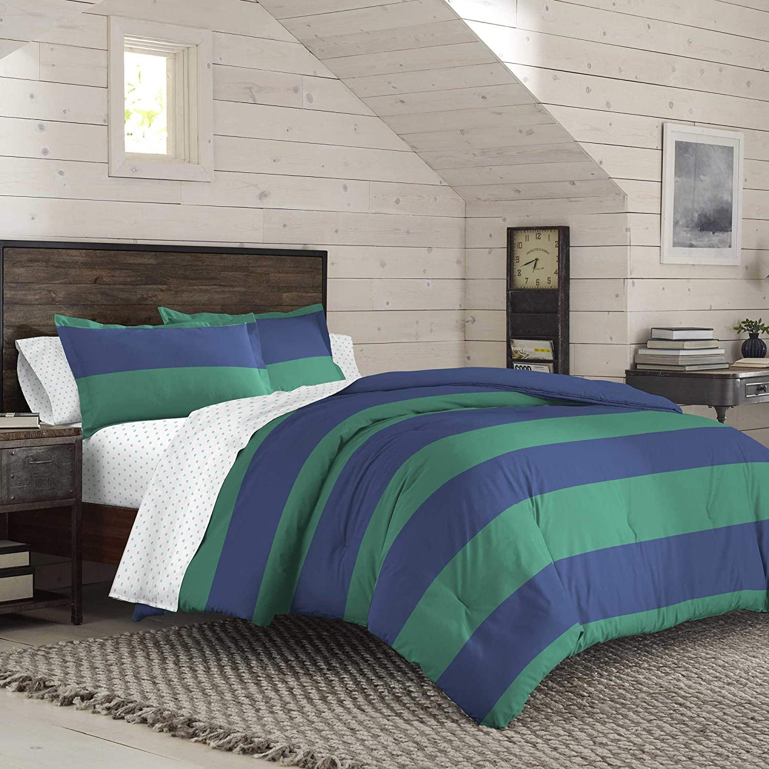 IZOD American Rugby Comforter Set with Hypoallergenic and Machine Washable Ultra Soft, All- Season, Light Weight, Breathable, Hotel Quality, King, Blue/Green