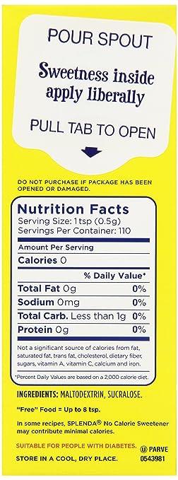 Amazon Splenda No Calorie Sweetener Granulated 19 Ounce