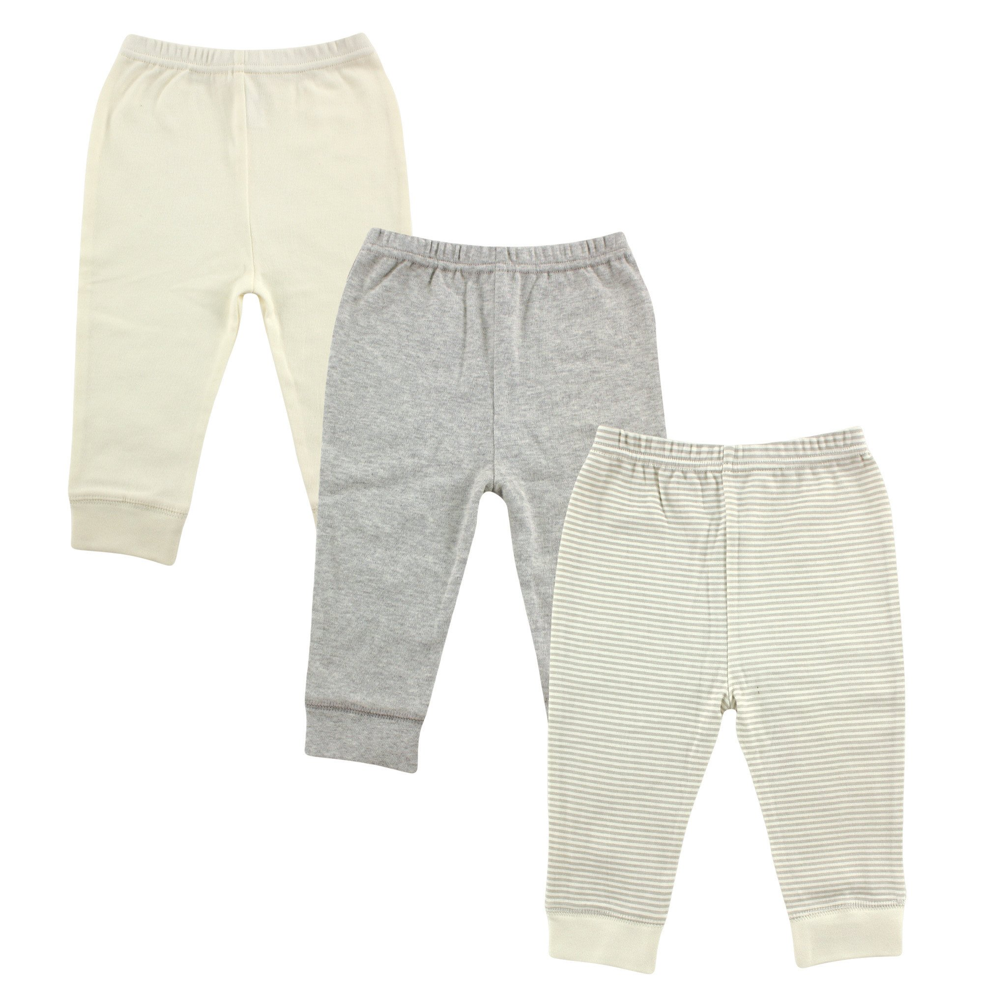Luvable Friends Unisex 3 Pack Tapered Ankle Pants, Gray Stripe, 9-12 Months