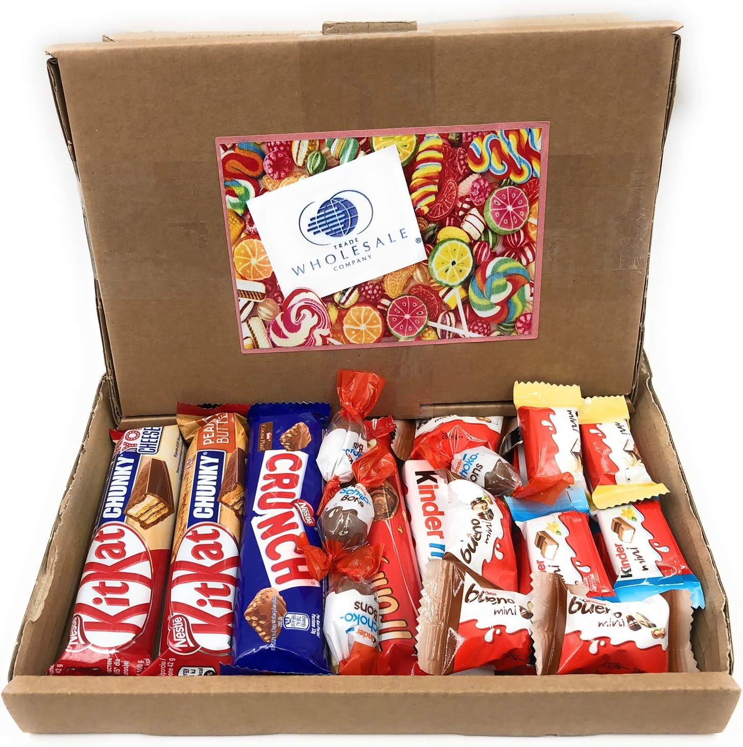 Mistery Box Paquete surtido de bocadillos Minis Ferrero Kinder Nestle Mantequilla de cacahuete Mini dulces de chocolate Dulces Para ideas de regalos de cumpleaños Caja vintage de cartón 18/24 piezas: Amazon.es: Alimentación