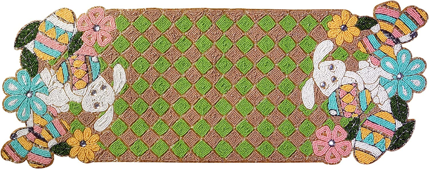 Beaded Table Runner 36 Inch, Easter Table Runners produced by skilled village Artisans in India -A Beautiful Complements to Dinner Table Décor, Rabbit Design-13x36 Inch - Green Beige Multi