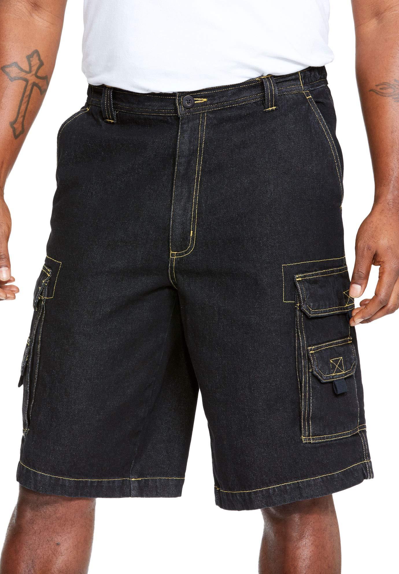 Boulder Creek Men's Big & Tall 12'' Denim Cargo Shorts, Black Denim Big-56
