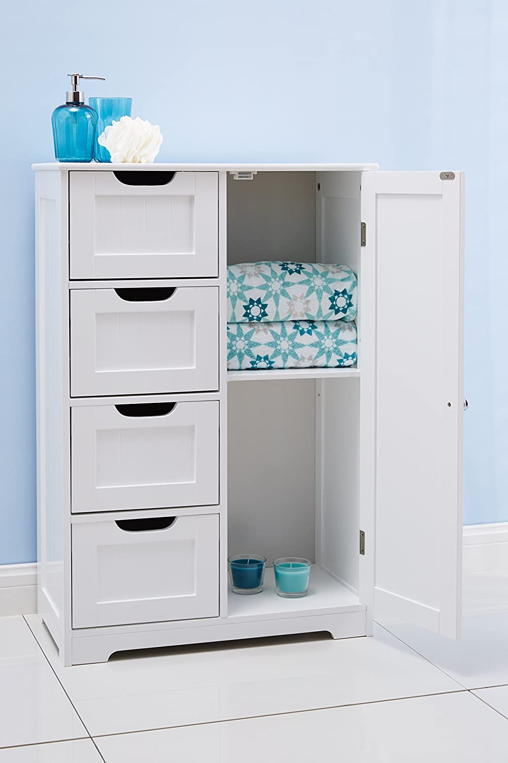 Portland 82x55x30cm White wooden bathroom cabinet four drawers ...