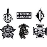 Skull tattoo biker iron cross back patch xxl 18 x 18 cm amazon pack of 6 sew on iron on biker patches with skull design publicscrutiny Image collections