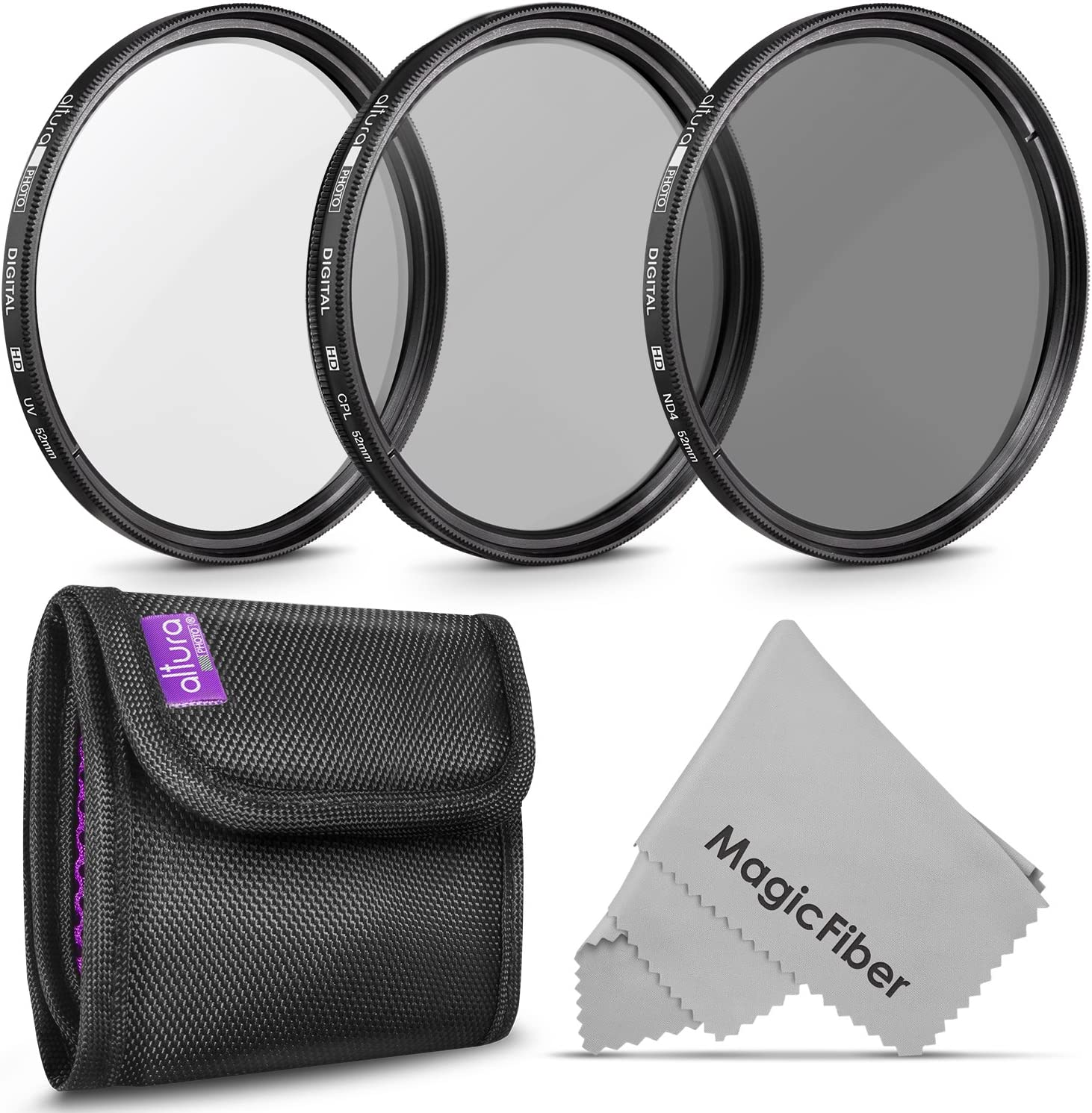 for NIkon Zoom Normal-Telephoto 55-200mm f//4-5.6G ED AF-S DX Microfiber Cleaning Cloth CPL 52mm Circular Polarizer Multicoated Glass Filter