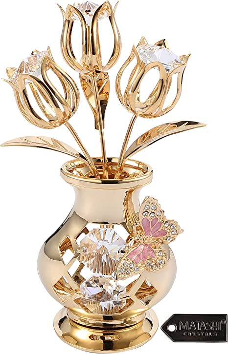 Amazon Com Matashi 24k Gold Plated Crystal Studded Flower Ornament In Vase With Decorative Butterfly Tabletop Ornament Great Gift For Birthday Mother S Day Valentine S Day Anniversary Home Office Decor Home Kitchen