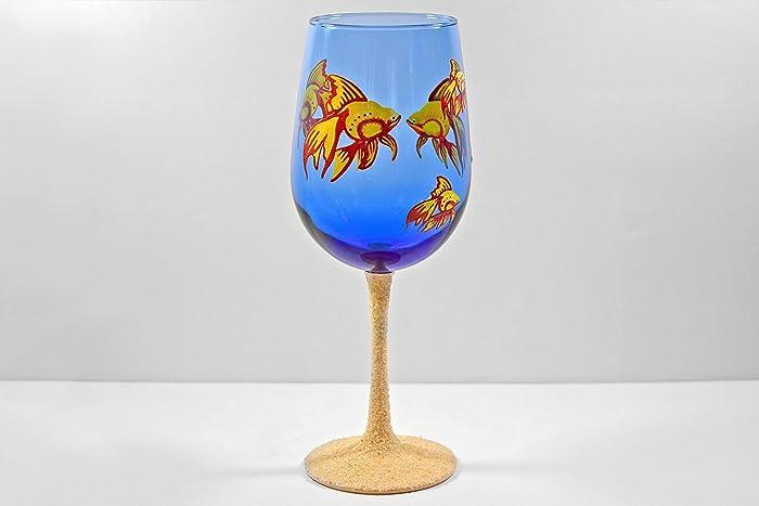 Amazoncom Goldfish Aquarium Hand Painted Wine Glass Handmade