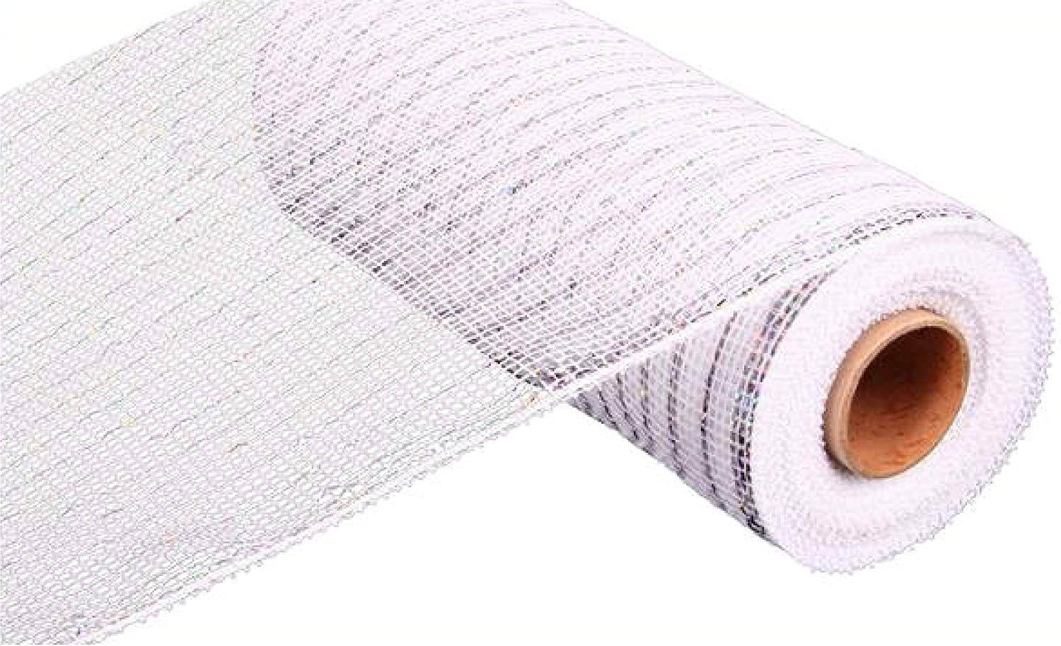 10 inch x 30 feet Deco Poly Mesh Ribbon - White with Silver Foil : RE130127
