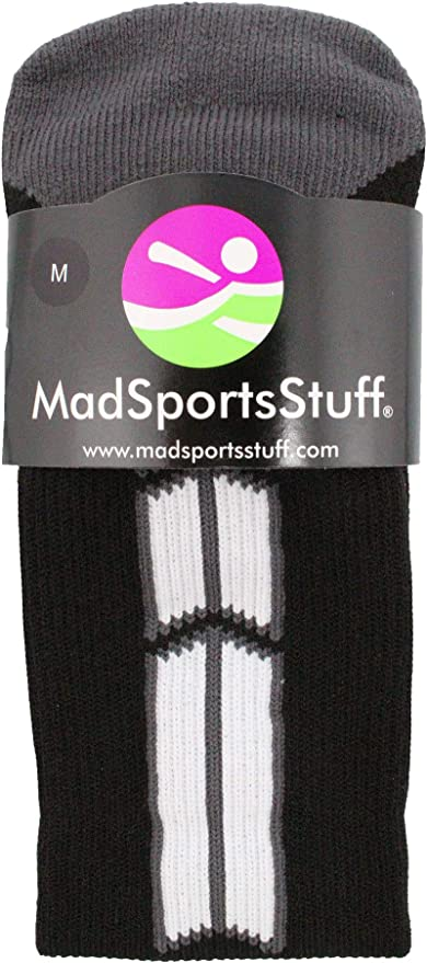 MadSportsStuff Red and Black Player ID Custom Number Crew Socks for Basketball Lacrosse Volleyball Boys and Girls