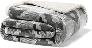 Eddie Bauer Ultra-Plush Collection Throw Blanket-Reversible Sherpa Fleece Cover, Soft & Cozy, Perfect for Bed or Couch, Copper Creek Grey
