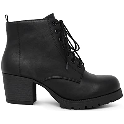Womens Round Toe Chunky Block Stacked Heels Lace Up Military Combat Boots   Boots