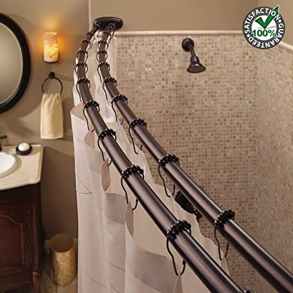 Adjustable Double Curved Durable Shower Curtain Rod Crescent Fixture Great For Your Home Bathroom