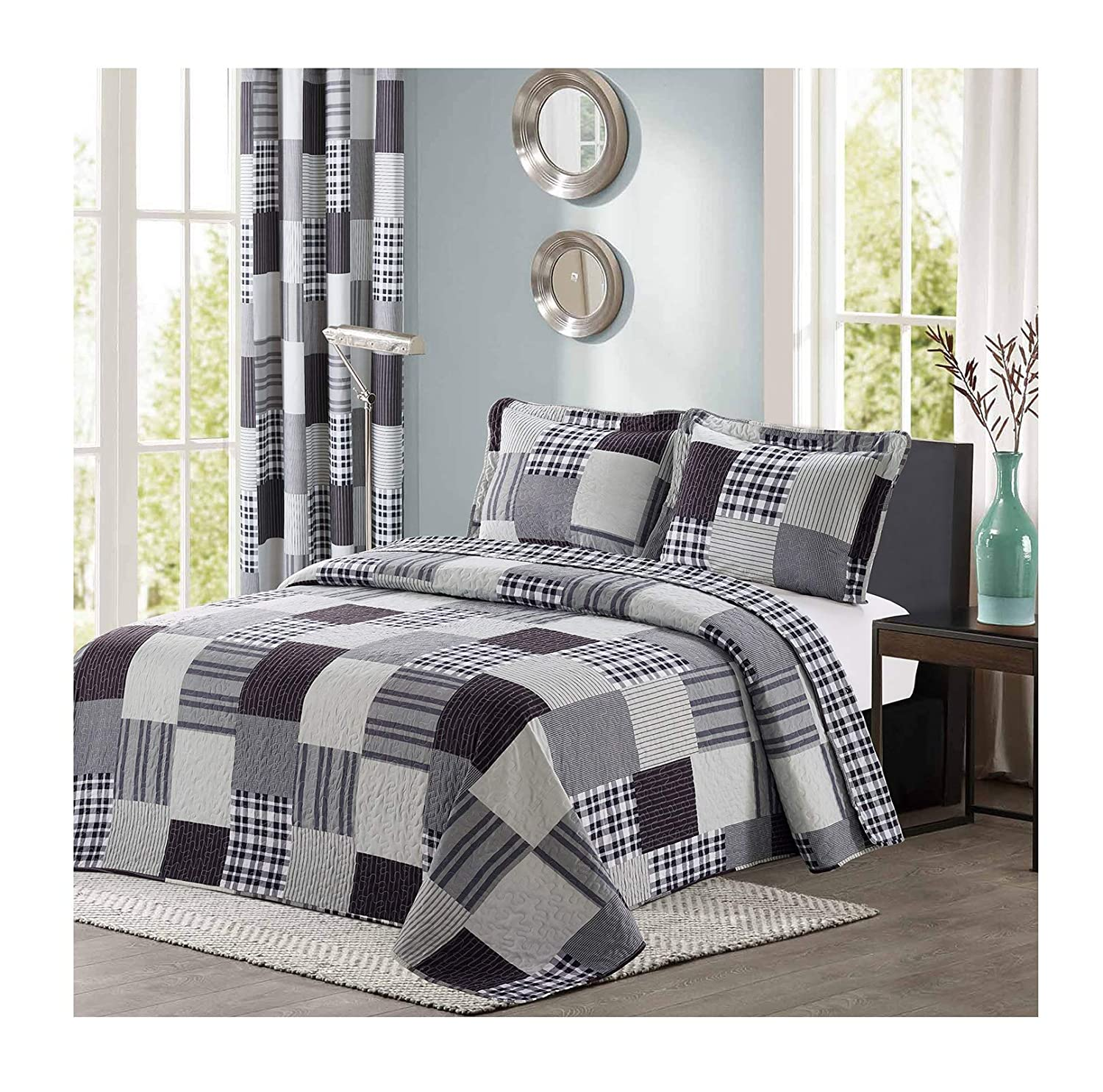 All American Collection Black and Grey Modern Plaid Bedspread and Pillow Sham Set